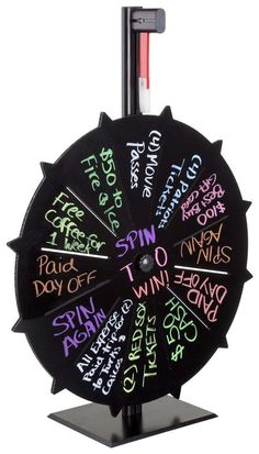 Prize Wheel with 12 Slots, Write-On Surface, Countertop - Black Spin The Wheel Game