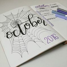 October set up inspired by Joann Gillies.and.stationery (p.s. spiderwebs are surprisingly hard to draw ... !)