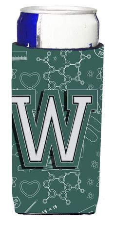 Letter W Back to School Initial Ultra Beverage Insulators for slim cans CJ2010-WMUK