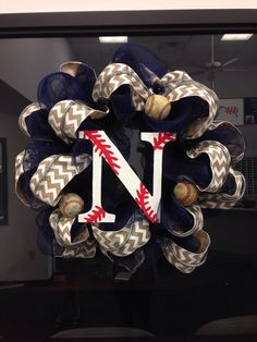 Baseball wreath door hanger