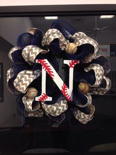 Baseball wreath door hanger
