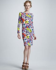 Tabitha Floral-Print Long-Sleeve Dress by Alice + Olivia at Neiman Marcus. Very fun and playful