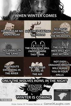 When winter comes, the wolves will rule! - Game Of Thrones Memes
