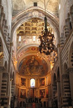 Duomo, Pisa Italy - Gallileo is believed to have formulated his theory of pendulum movement by watching the swinging of an incense lamp inside the nave.  The original lamp, plainer and simpler is kept in the nearby Camposanto.