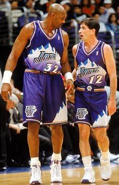 Karl Malone and John Stockton. Maybe the best basketball partnership in the history of the sport. This is who I grew up hating. Jazz Basketball, Fantasy Basketball, Basketball History, Basketball Legends, Basketball Pictures, Basketball Jersey, Fantasy Football, Basketball Players, Basketball Rules