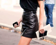 Azzedine Alaïa black leather skirt. Can't have thigh high boots without the short skirt.