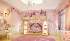 Cute The Princess Castle Bed For Little Girl : The Princess Castle Bedroom - Strandedwind Home Inspiration Princess Bunk Beds, Princess Castle Bed, Princess Bedrooms, Princess Room, Disney Princess, Sweet Dreams Beds, Bookshelf Bed, Bookshelves, Bunk Bed With Slide