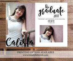Graduation Photo Announcement-High School Graduation Announcement-Photo Card-Digital File-5x7 by KindlyLettered on Etsy