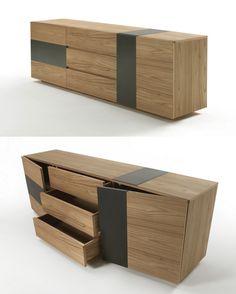 WABI SMALL wooden sideboard. Riva1920   Design by Setsu & Shinobu Ito Simple Furniture, Furniture Decor, Furniture Design, Coffee Table Inspiration, Wooden Sofa, Floating Shelves Diy, Living Room Tv, Interior Design, Credenza