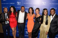 (L-R) Omari Hardwick, Jordin Sparks, Mike Epps, Debra Martin Chase, Carmen Ejogo, Tika Sumpter and Derek Luke attend The Cinema Society with Circa and Alice & Olivia screening of 'Sparkle' at Tribeca Grand Hotel on August 14, 2012 in New York City.