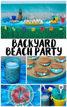 Need ideas for your Backyard Beach Theme Party? Whether you're having a Hawaiian Luau birthday party or just celebrating summer with the kids, we've got you covered! From the mason jar decorations to the DIY beach ball Frisbee game to the beach cupcakes, we're sharing all kinds of food, games, and décor ideas to make your party fun in the sun! #FreeToBe #ad