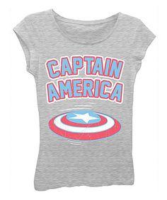 Heather Gray 'Captain America' Tee - Girls
