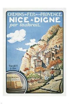 provence france vintage train travel poster SCENIC COASTLINE RENOWNED 24X36