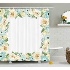 August Grove Bud Shabby Elegance Flowers Roses Leaves Buds Romantic Love Themed Frame Artwork Print Shower Curtain Size 69 W X 75 H