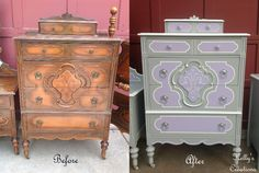 Vintage highboy painted gray, white and lilac purple with silver hardware before and after pictures.  Refinished by Kelly's Creations. https://www.facebook.com/KellysCreationsFurniture