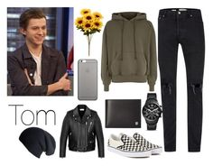 """Untitled #182"" by nothisiseileen on Polyvore featuring Topman, Juun.j, Vans, FOSSIL, Victorinox Swiss Army, Native Union, Yves Saint Laurent, Black, men's fashion and menswear"