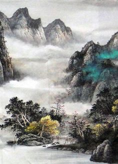 watercolor paintings chinese   ... Mountain Landscape Abstract art Chinese Watercolor Brush Painting