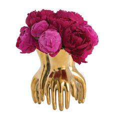 gold hands vase