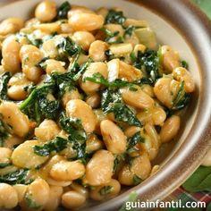 fresh bean salad w/ spinach Vegetable Recipes, Vegetarian Recipes, Cooking Recipes, Healthy Recipes, Italian Dishes, Italian Recipes, Italy Food, Bean Salad, Spinach Salad