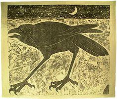 Peter Fox     Raven  Woodcut print on handmade paper  70cm x 54cm