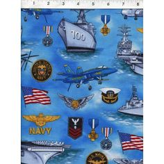 U.S. Navy themed fabric with icons and medals on a sea of blue. www.americasbestthreads.com
