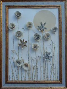 Petit tableau décoratif feurs en 3d collage papier et origami