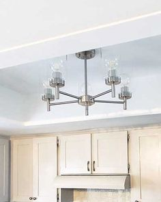 Replacing Fluorescent Light Boxes in Your Kitchen (My Design Rules) Kitchen Ceiling Lights, Kitchen Lighting Fixtures, Pendant Light Fixtures, Ceiling Lighting, Ceiling Ideas, Pink Ceiling Paint, Colored Ceiling, Shaker Kitchen Cabinets, Kitchen Cabinet Doors