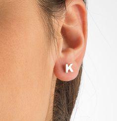 Silver initial earrings  Letter earings  by elegantjewelbox   R V silver