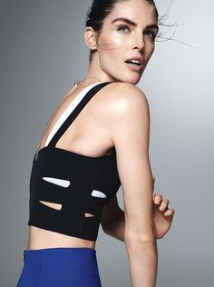 Sexy and Sporty: Hilary Rhoda Demonstrates How to Show Off Your Best Assets | Reveal a strong back with a cutout bustier