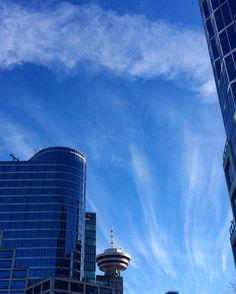 Blue sky magic clouds.  #sunny #sunnyday #clouds #vancouver #sky #blue #sculpture #buildings