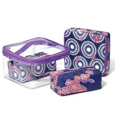 """Compartments galore! This 4-in-1 cosmetic bag set provides 3 zip pouches to keep makeup organized that can be stored in a clear zip-up case. The case and each pouch feature a purple zipper closure. The case also has a purple strap handle.· Case: Clear 4 1/2"""" H x 7"""" W x 6 1/2"""" D, 100% PVC; Circle top/floral bottom pattern pouch: 6.3; x 5.9; x 1.75, 100% polyester; Floral pattern pouch: 5.9"""" x 3.15"""" x 2.2"""", 100% polyester· Circle pattern pouch: 5.9"""" www.youravon.com/annmariediaz"""