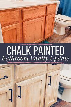 Oak Vanity Update With Rustoleum Chalk Paint & Glaze DIY chalk paint updated bathroom vanity cabinet Bathroom Vanity Makeover, Diy Bathroom Remodel, Bathroom Renovations, Bathroom Ideas, Bathroom Organization, Budget Bathroom, Bathroom Interior, Refinish Bathroom Vanity, Bathroom Makeovers