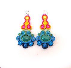 Colorful Hippie Chandelier Earrings Long by GiSoutacheJewelry