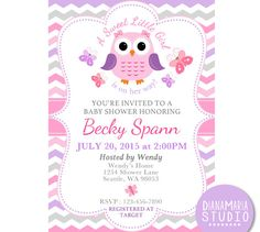 Pink dahlia baby shower invites purple grey baby shower invitation owl purple pink baby by dianamariastudio filmwisefo Image collections