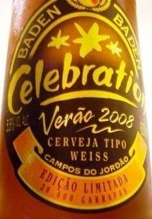 Cerveja Baden Baden Celebration Verão, estilo German Weizen, produzida por Baden Baden, Brasil. 5.5% ABV de álcool.