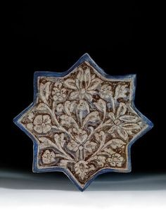 A century Ilkhanid Iranian ceramic star shaped tile Islamic Patterns, Tile Patterns, Pattern Art, Tile Art, Mosaic Art, Mosaic Tiles, Pottery Bowls, Ceramic Pottery, Medieval Gothic