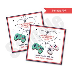 Video Game Level Up Friendship Valentines Day.  Great for tween boys classroom valentine exchange