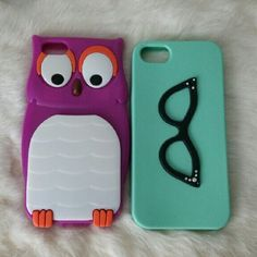 iPhone 5c cases Two iPhone 5c silicone cases. One violet owl, one teal with black glasses. Owl is in like new condition, the teal one is in great condition but has a few beads missing. I have seven other post of iPhone 5c cases on my page. Accessories Phone Cases