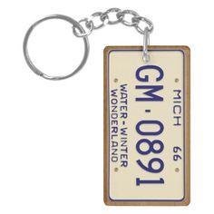 Michigan 1966 Vintage License Plate Keychain Acrylic Key Chain