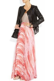 ALICE + OLIVIA - Shannon pleated crepe maxi skirt ... this print makes me hungry for ice cream ...