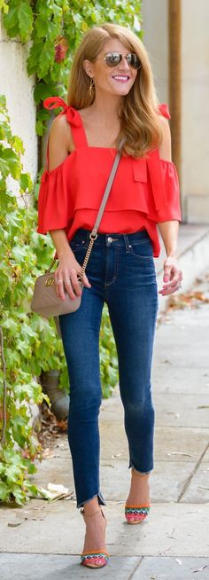 #summer #outfits Cherry Red Obsessed ❤️ And My Newest Denim Obsession- How Fun Is The Uneven Hemline? (I Found & Linked Them On Sale In Two Places) Plus, A Little #tuesdayshoesday Shout Out To These Super Fun Colorful Crochet Sandals!  Love Love Them!