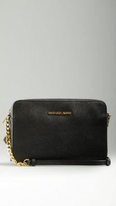 Saffiano leather black crossbody bag