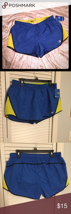 NWT Champion Blue/Yellow PowerTrain Athletic Short NWT Champion Blue/Yellow PowerTrain Athletic Shorts. SZ Large. Great workout shorts with PowerTrain breathable fabric. Brand new w/tags. Champion Shorts