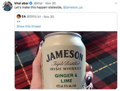 """Jameson U.S. on Twitter: """"If this gets 75K retweets... I can either convince my bosses to bring this to the US... or be fired.… """" Whiskey Ginger, Jameson Irish Whiskey, Getting Fired, Lime, Bring It On, Shit Happens, Drinks, Twitter, How To Make"""