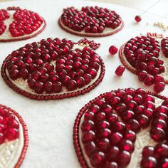 Pomegranate bead emboidery, beaded brooch, seed bead embroidery, pomegranate embroidery, glass pomegranate beads