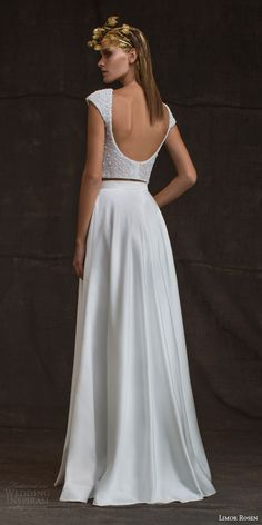 limor rosen bridal 2016 treasure bianca two piece wedding dress pearl cap sleeve top skirt pockets low back view