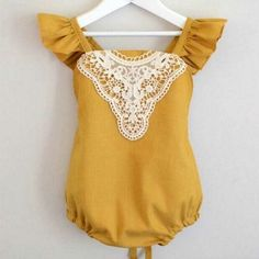 Mustard Yellow Vintage Lace Romper Baby and Toddler Girl's