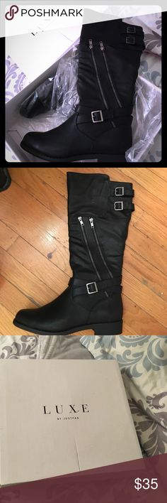 Black boots with silver zippers Size 9 black boots, mid calf rise, with silver zippers on the side. Never been worn, still in original box & packaging. JustFab Shoes