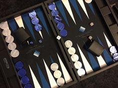 Backgammon façon cuir noir - Personnalisation pour Club de Rouen