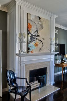 Glass and Lucite details keep the fireplace airy and unfettered while helping define the space. Interior Design Usa, Living Spaces, Living Room, Cow Skull, Group, Luxury, Glass, Check, Projects